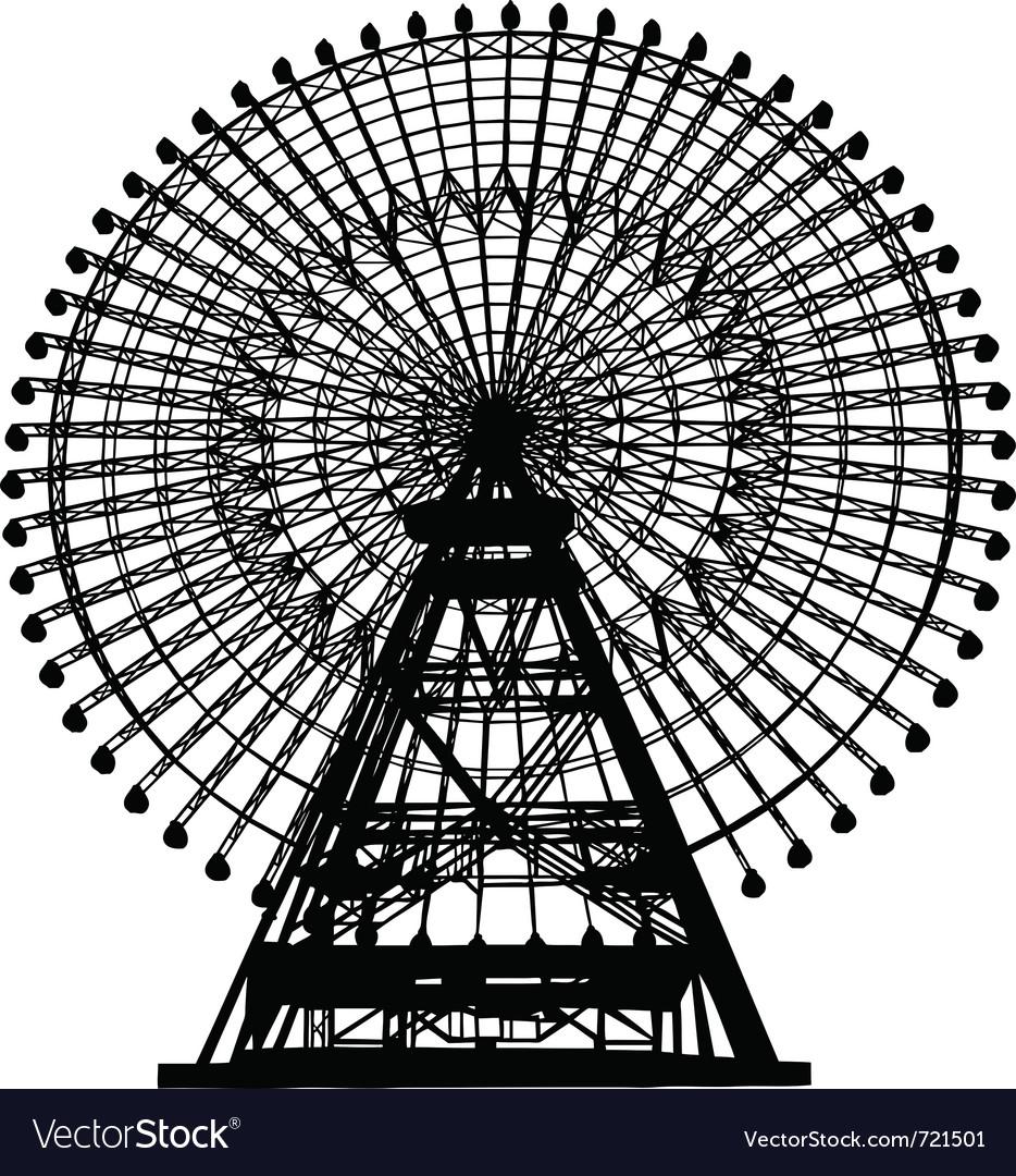 Ferris wheel silhouette vector image
