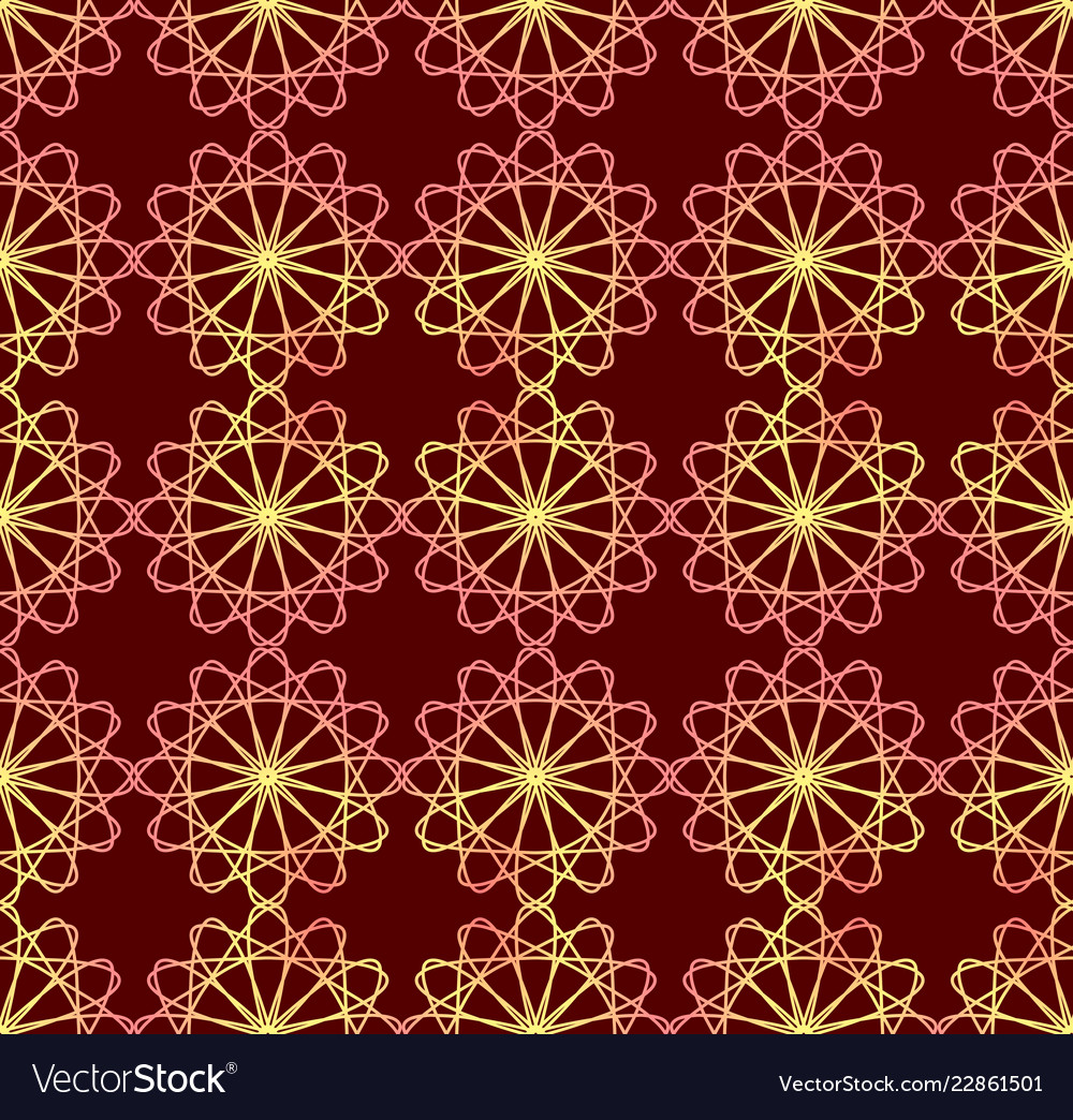 Fine red and yellow patterns on dark red