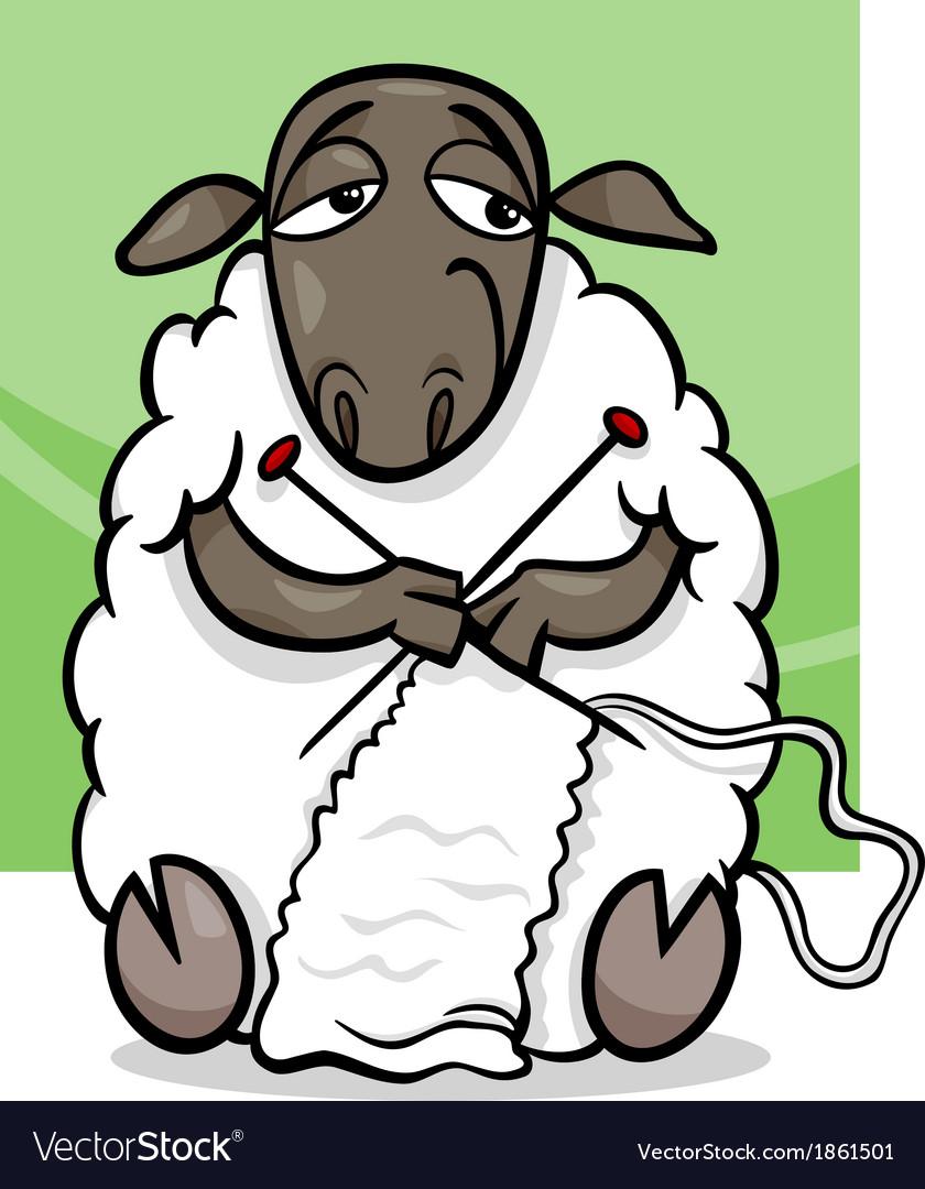 Knitting sheep cartoon