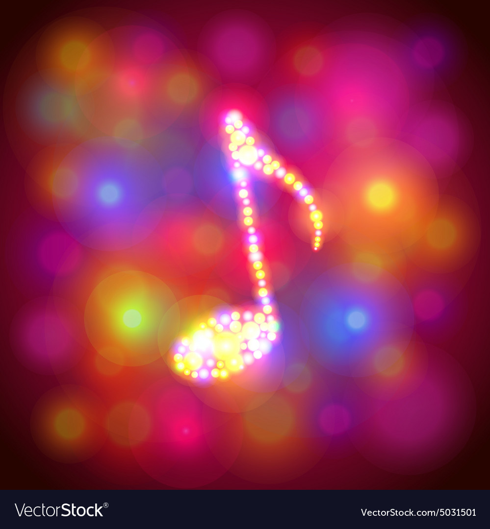 Note symbol from colorful bokeh background