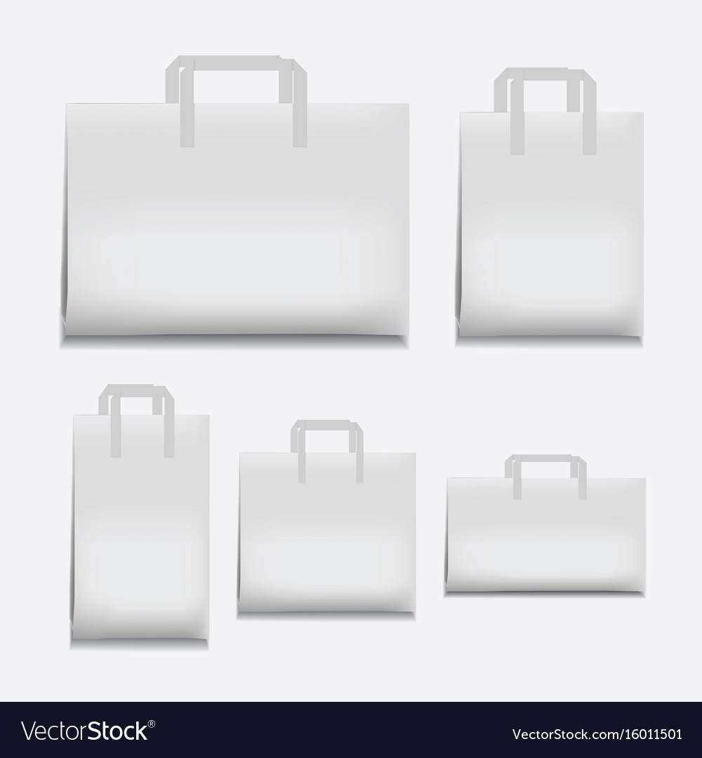 Paper shopping bag white various sizes vector image