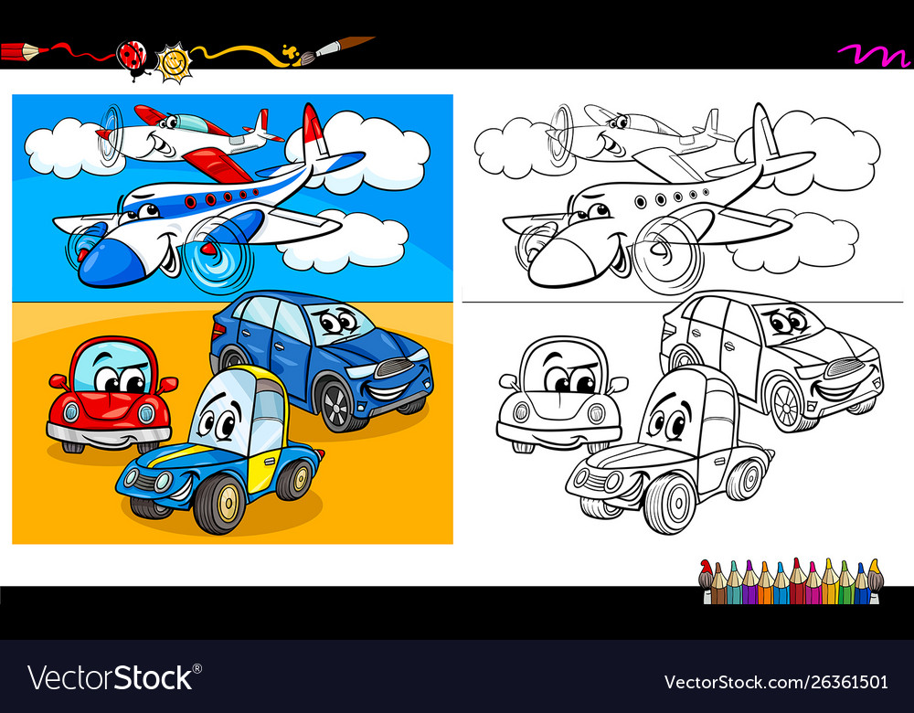 Planes And Cars Characters Coloring Book Vector Image
