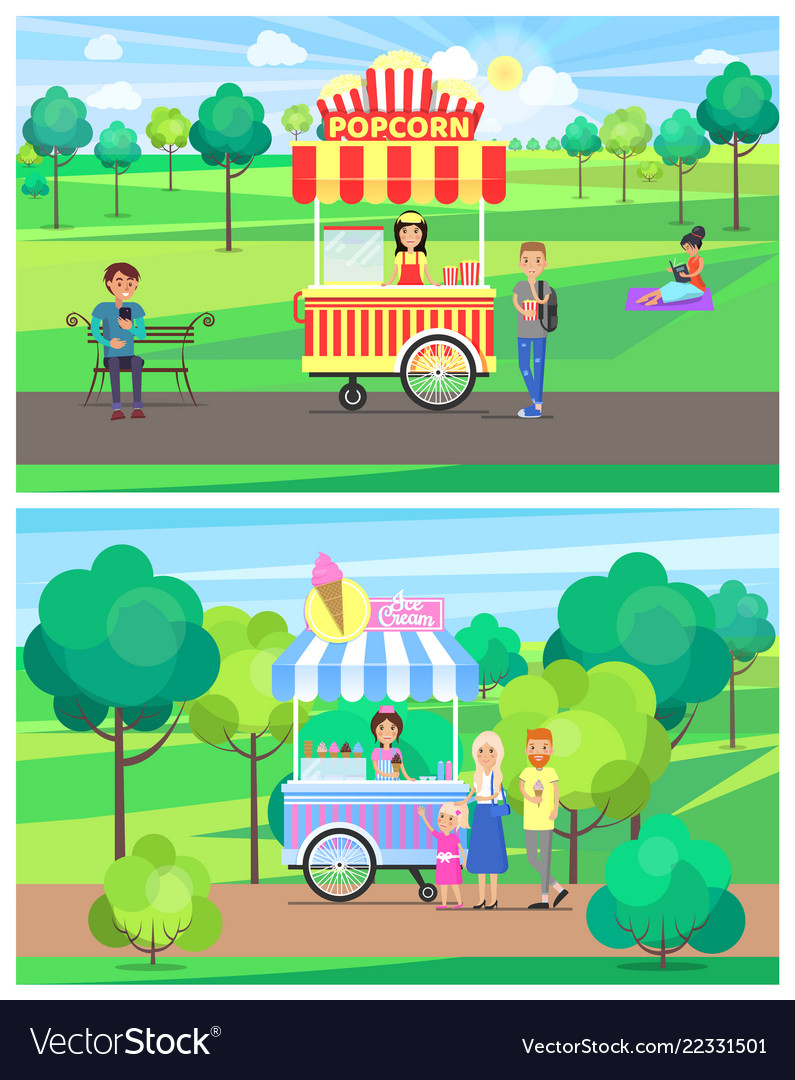 outlet online online store new style Popcorn and ice cream vans in green summer park