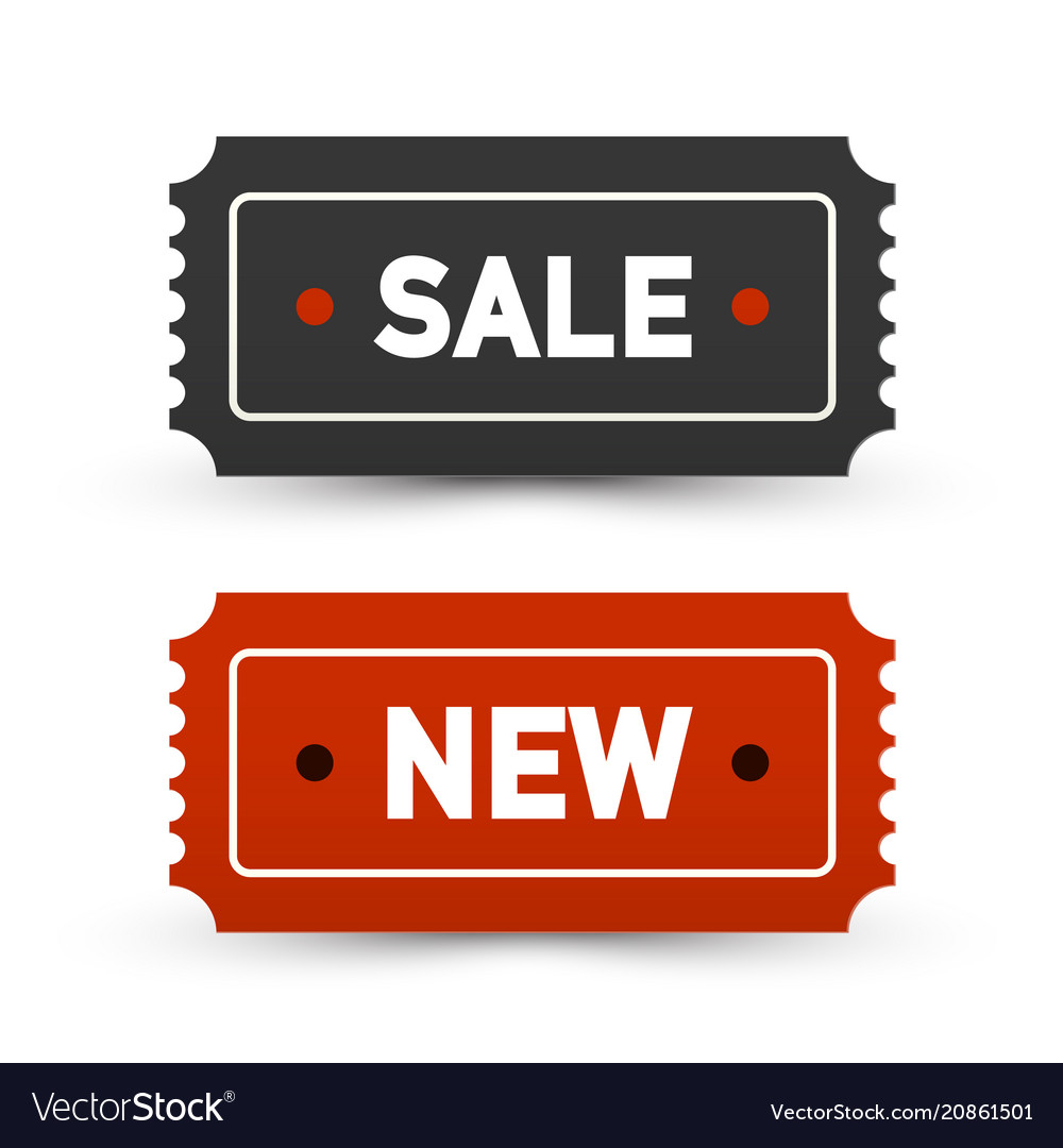 Sale and new tickets - business labels set paper
