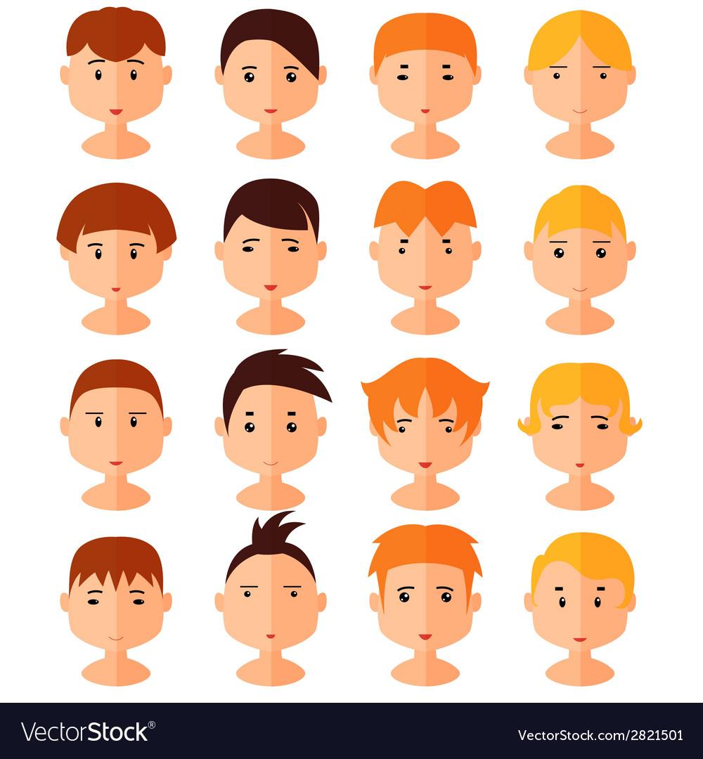 Set of cartoon avatar flat boy icons