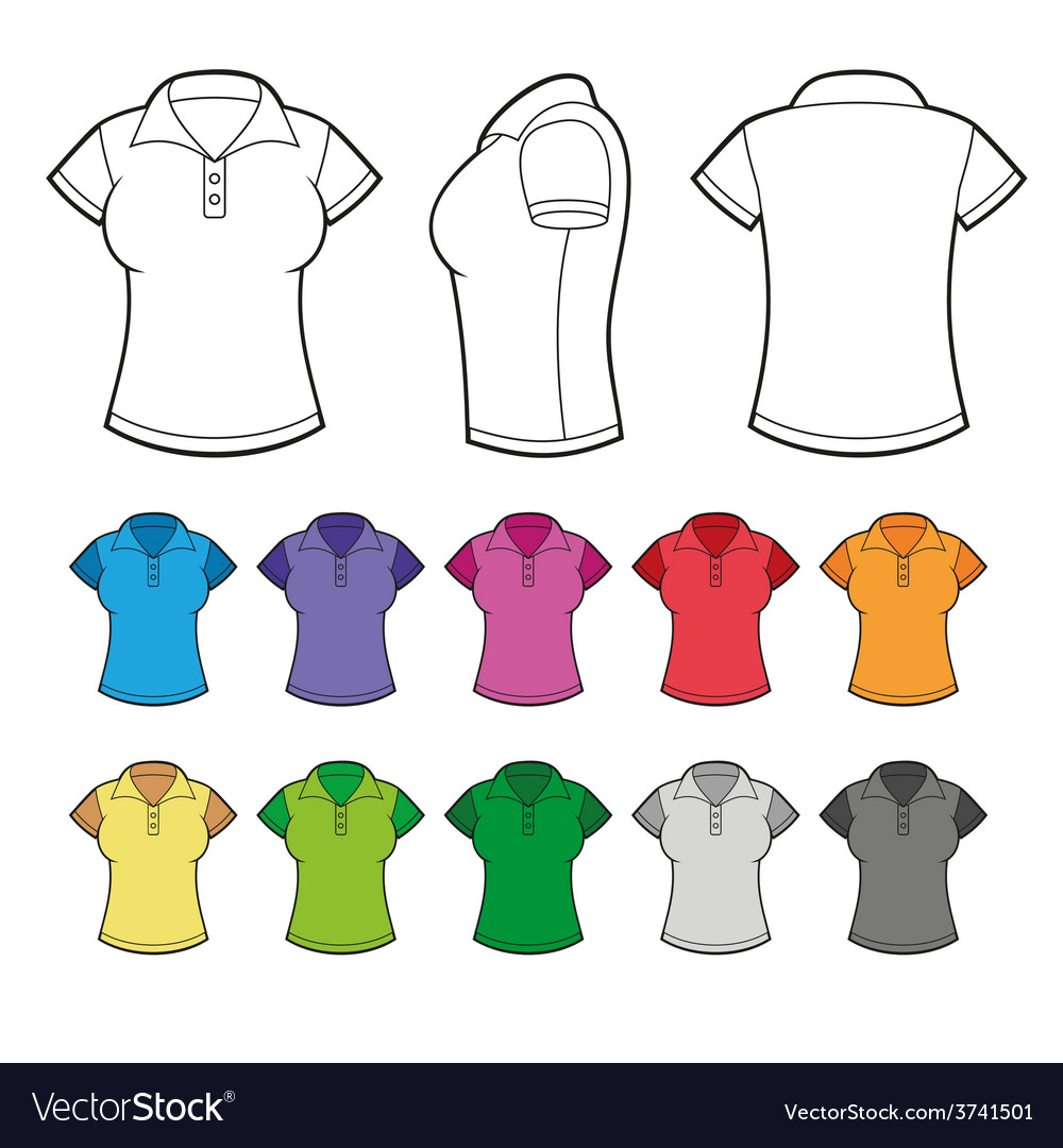 Set of Colorful Female Polo Shirts