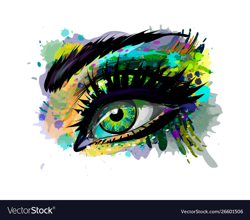 Abstract beautiful female eye from a splash of