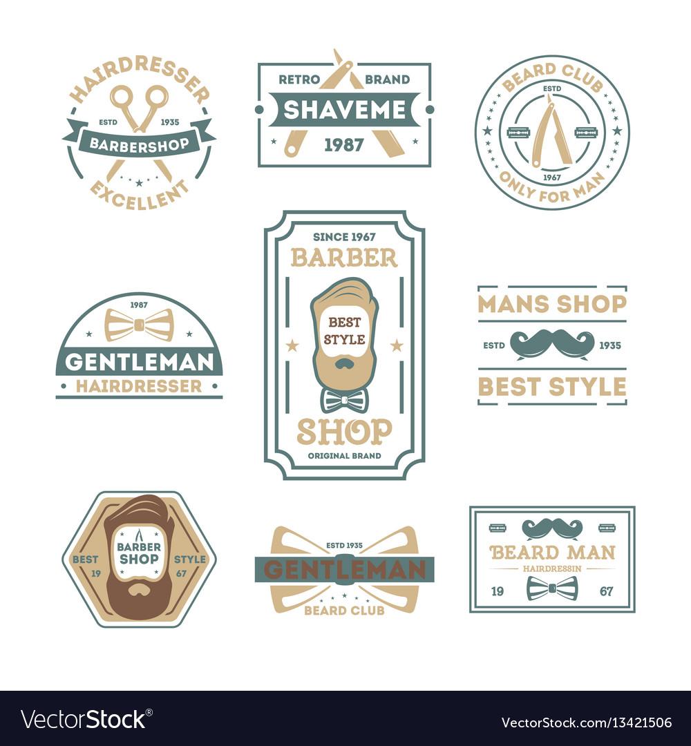 Barber shop vintage isolated label set