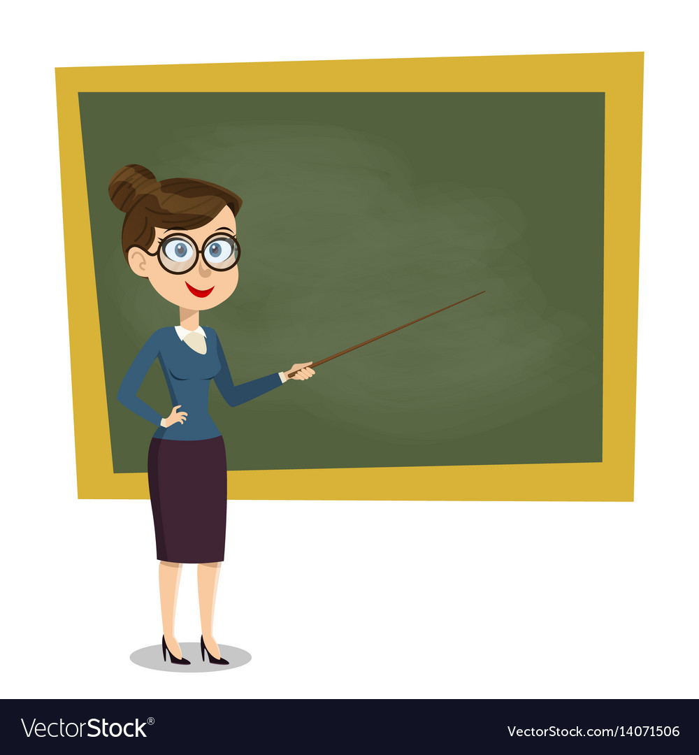 Cartoon smiling female teacher with pointer Vector Image