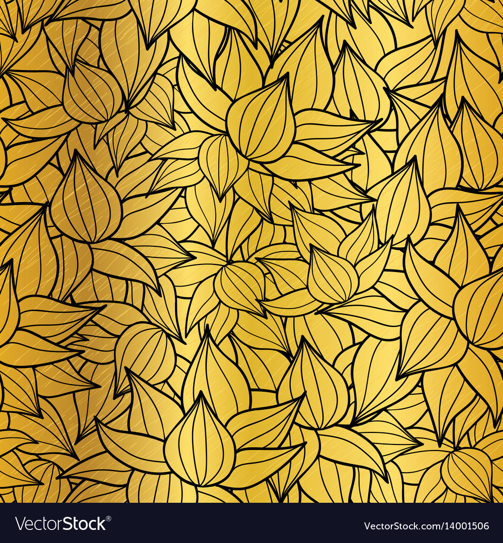 Gold and black succulent plant texture vector image