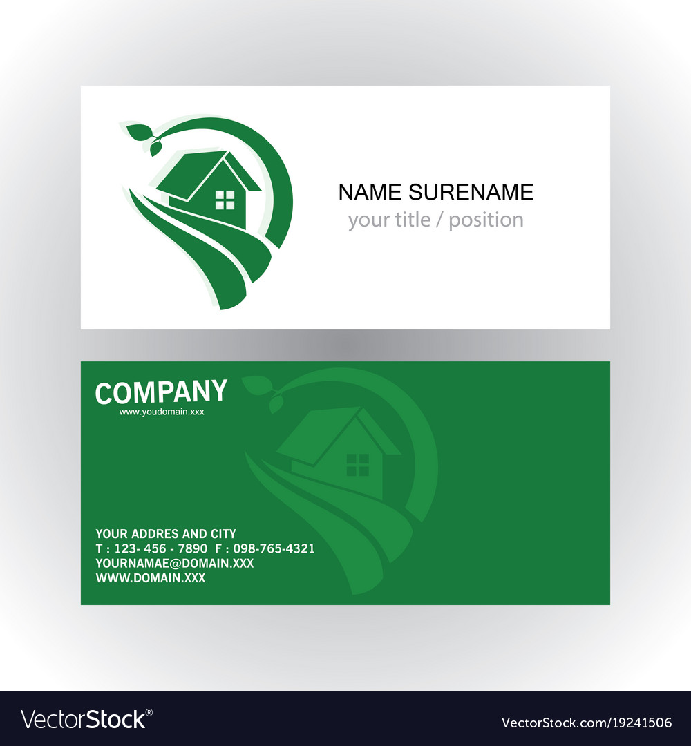 Home green nature logo business card royalty free vector home green nature logo business card vector image reheart Images
