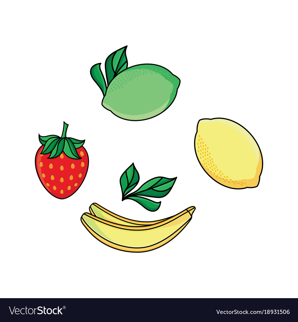 Lemon lime strawberry and banana flat icon set
