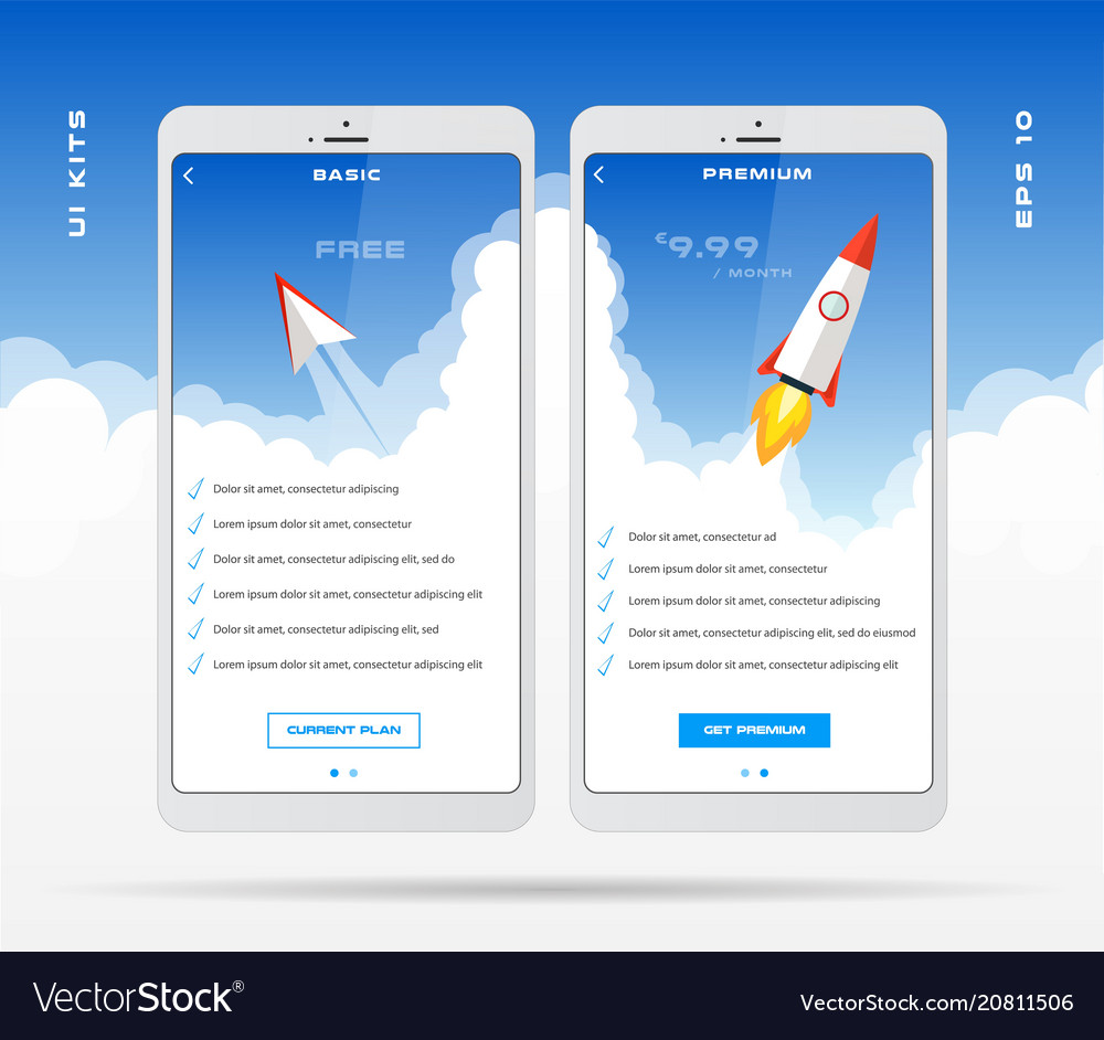 mobile app design template for price list set vector image