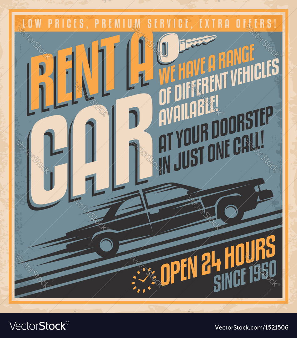 Retro promotional label for car rentals
