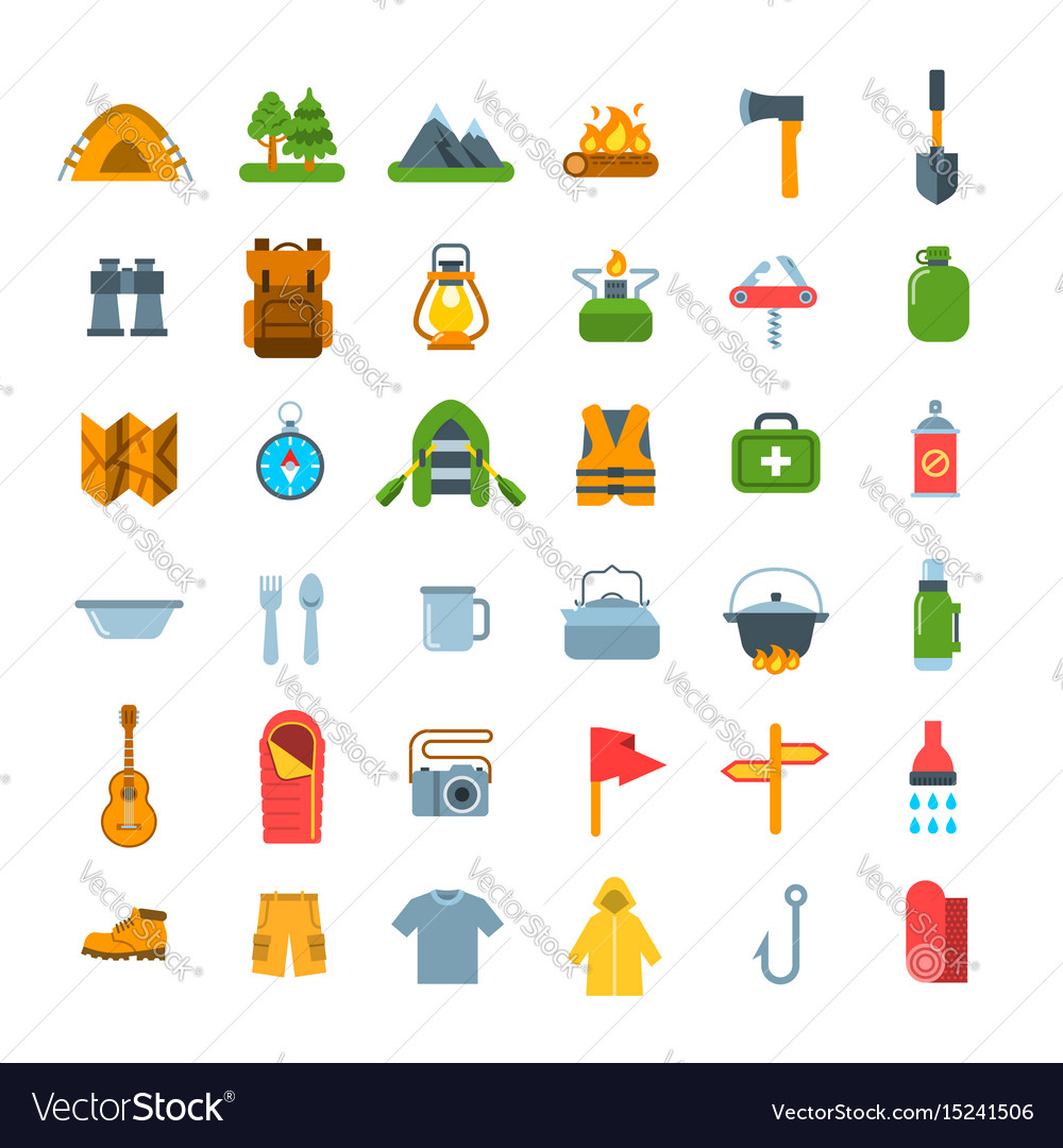 Summer tourism camping flat icons