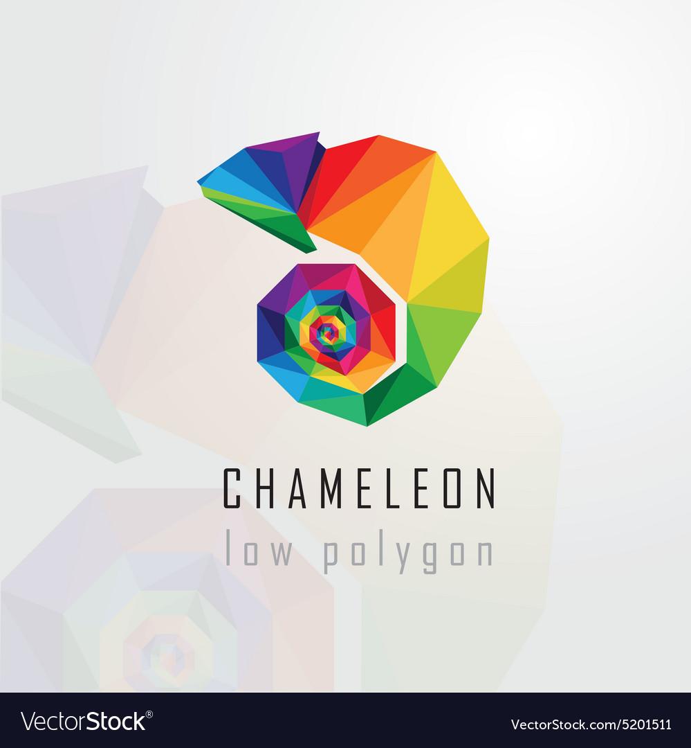 3d origami low polygon chameleon