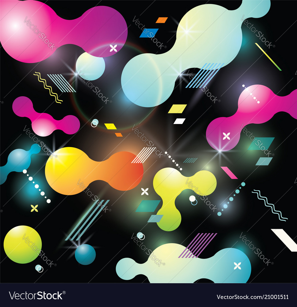 Abstract background with bright bubbles on black