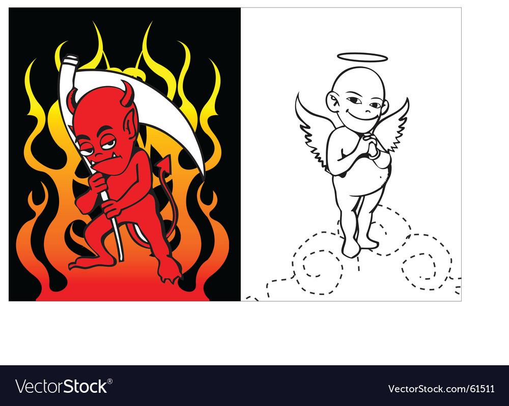 Angel vs evil vector image