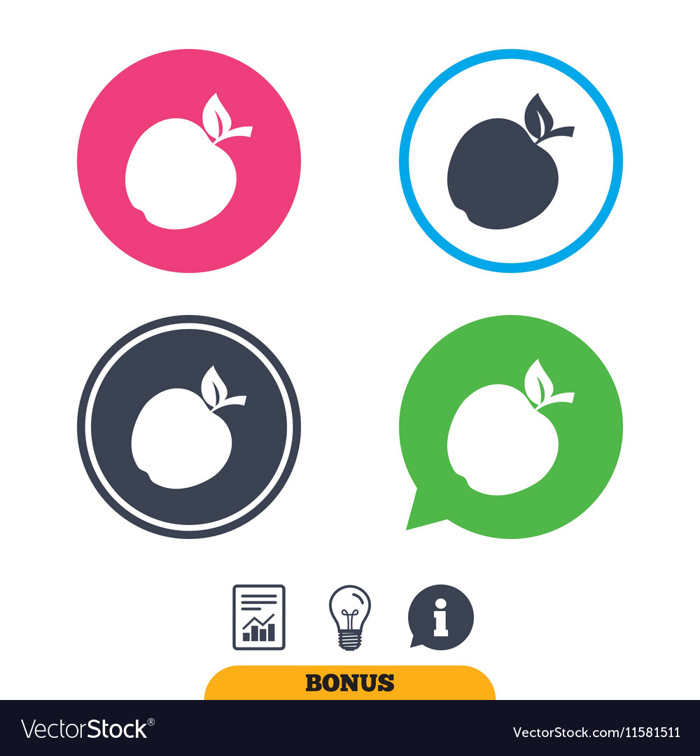 Apple Sign Icon Fruit With Leaf Symbol Royalty Free Vector