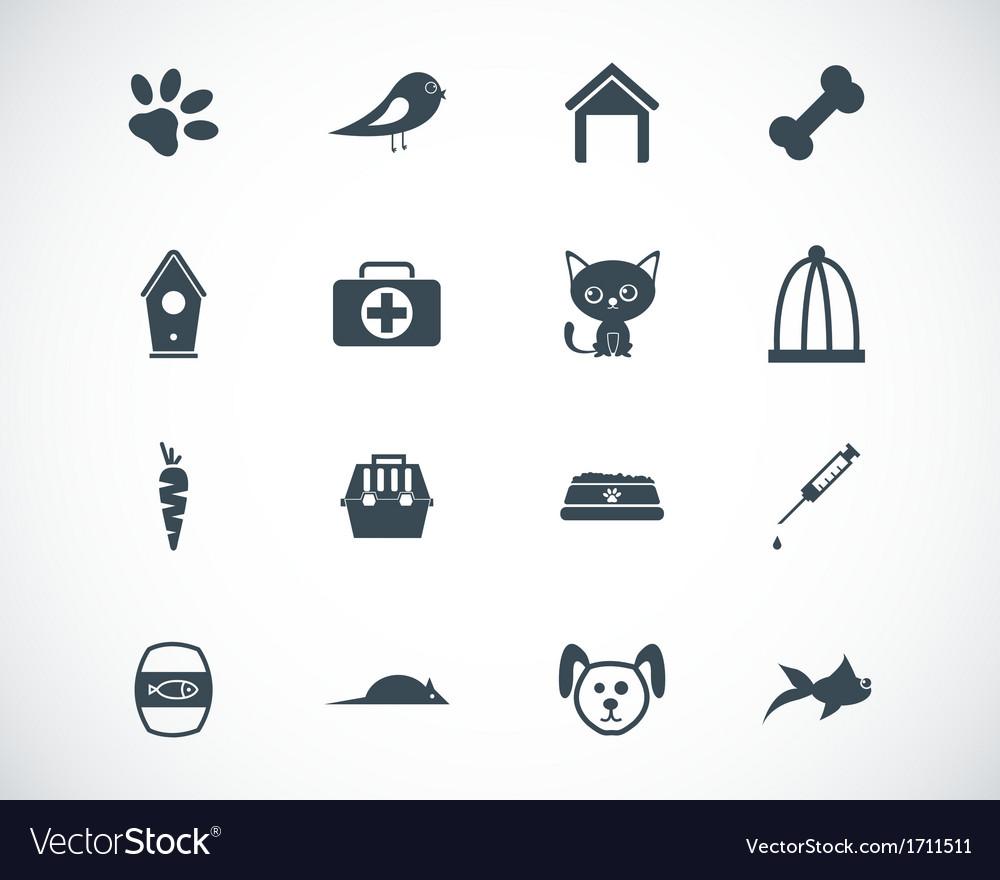 Black pet icons set