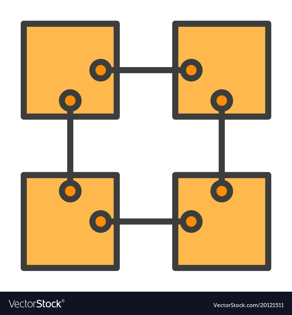 Blockchain line icon simple minimal pictogram