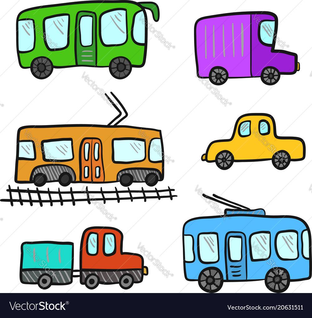 Cute cartoon colorful doodle city transport vector image