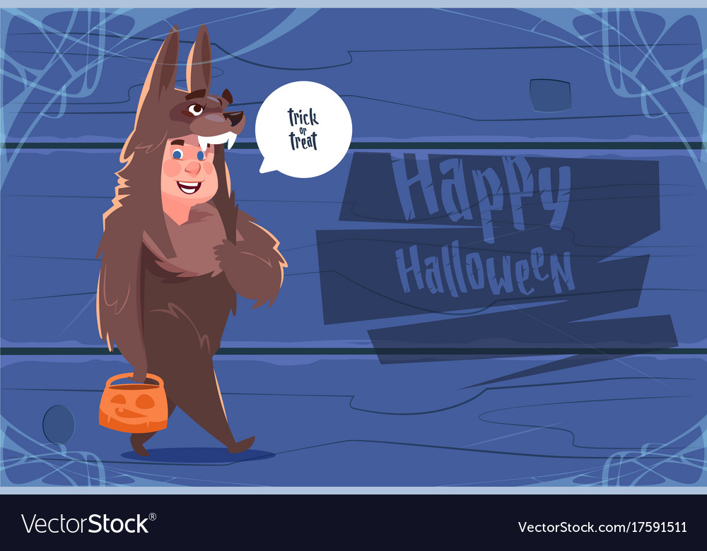 Cute kid wear wolf costume happy halloween banner