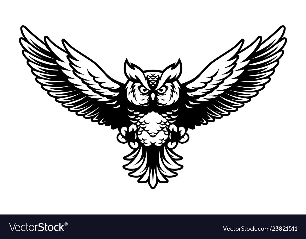 Flying owl with open wings and claws logo mascot