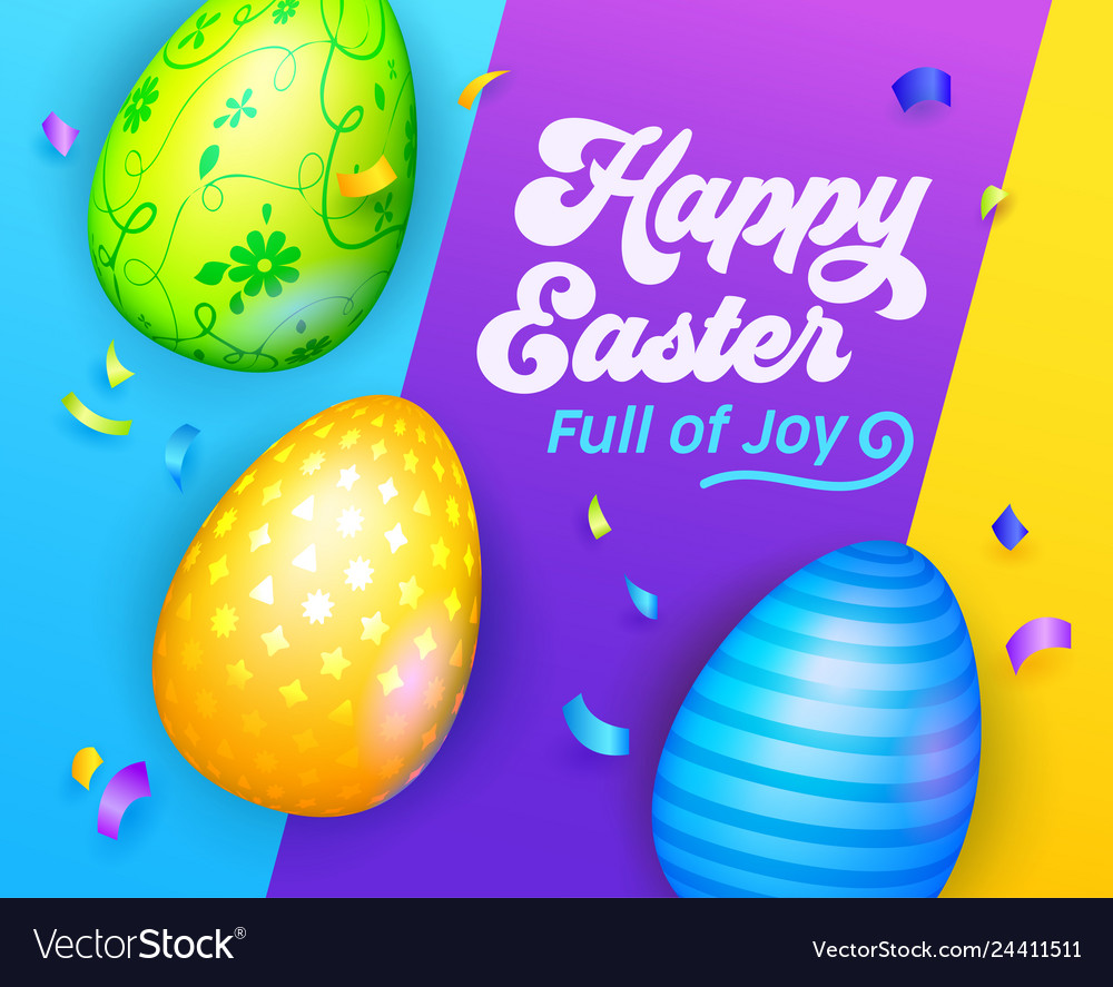 Happy easter banner with colorful eggs greeting