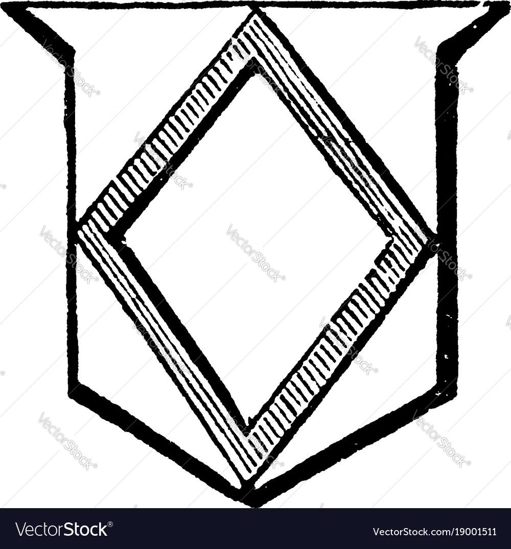 Mascle is an open lozenge-shaped figure vintage vector image