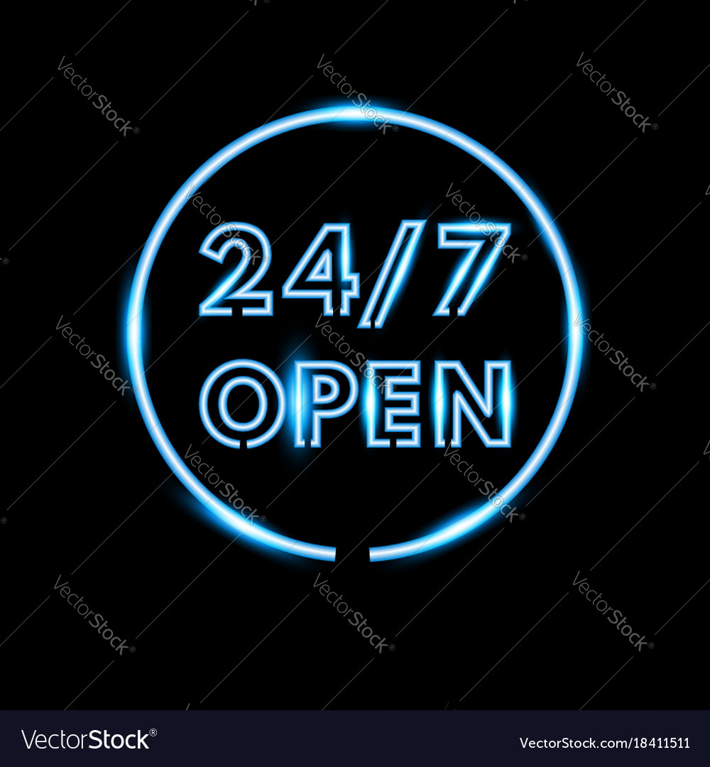 Realistic open neon sign banner