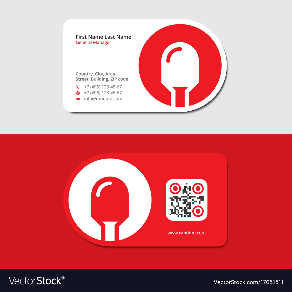 Red business card with led icon and qr code