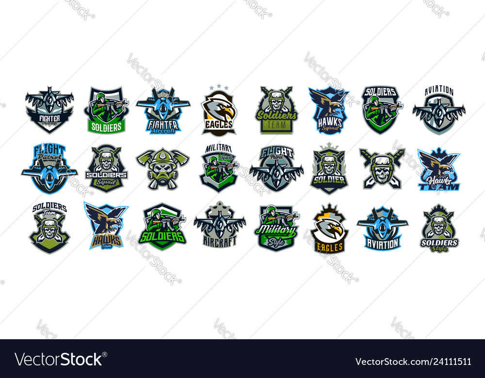 Set military emblems soldiers military