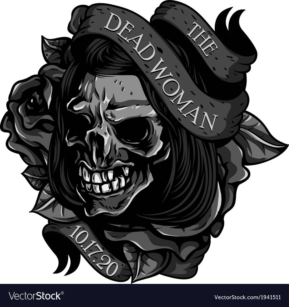The-Dead-Woman-Skull-Tattoo vector image