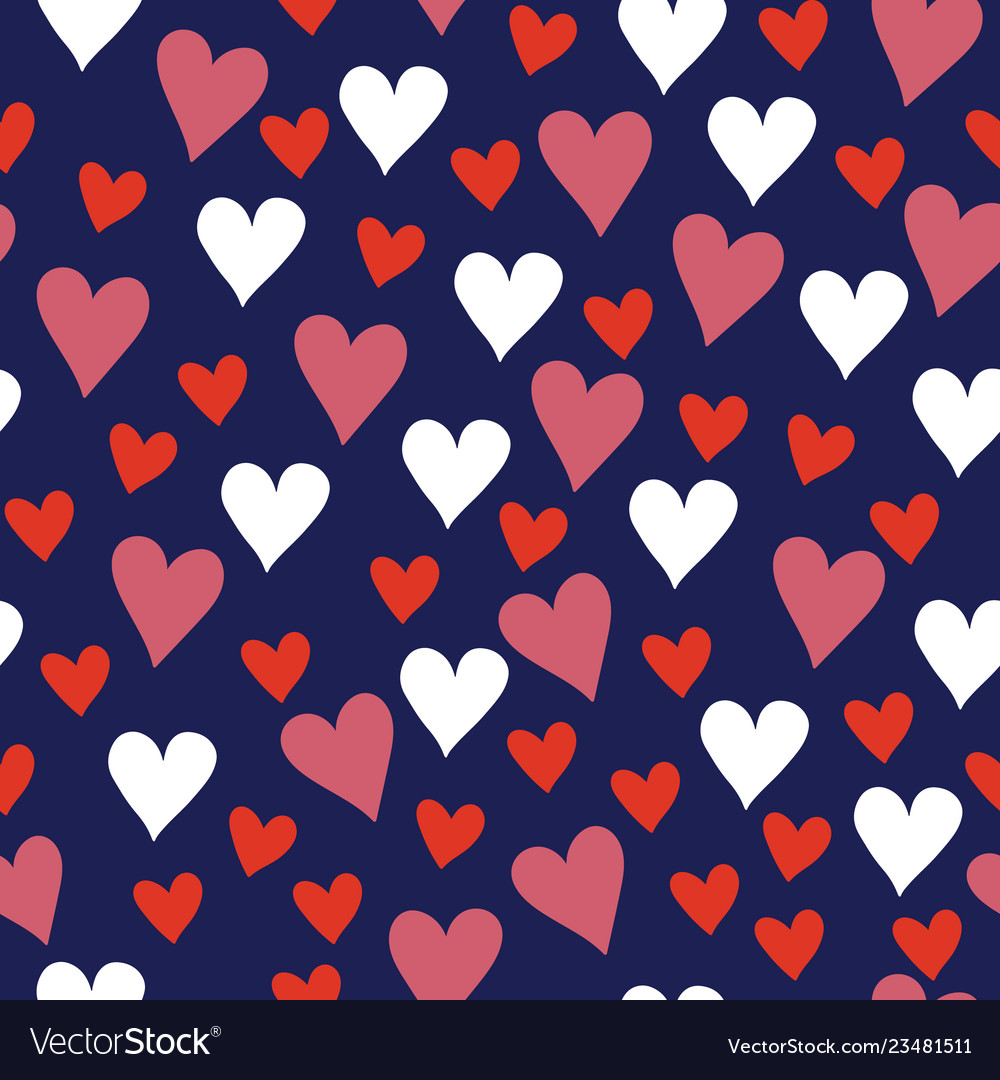 Valentine navy and red love hearts