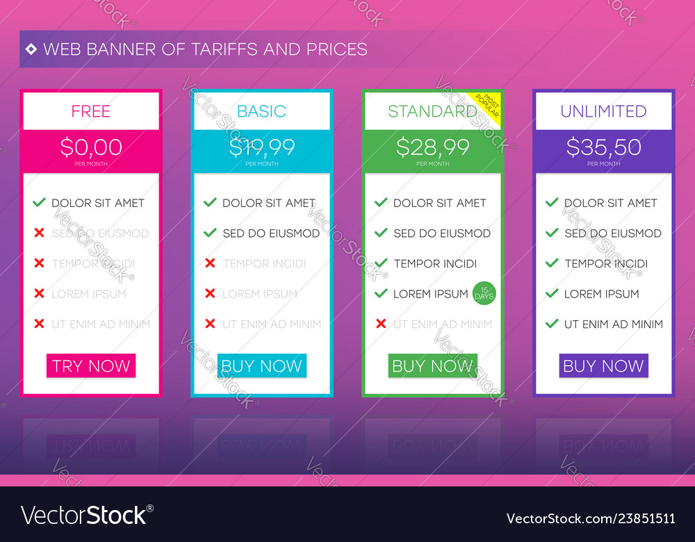 Web banner of tariffs and prices