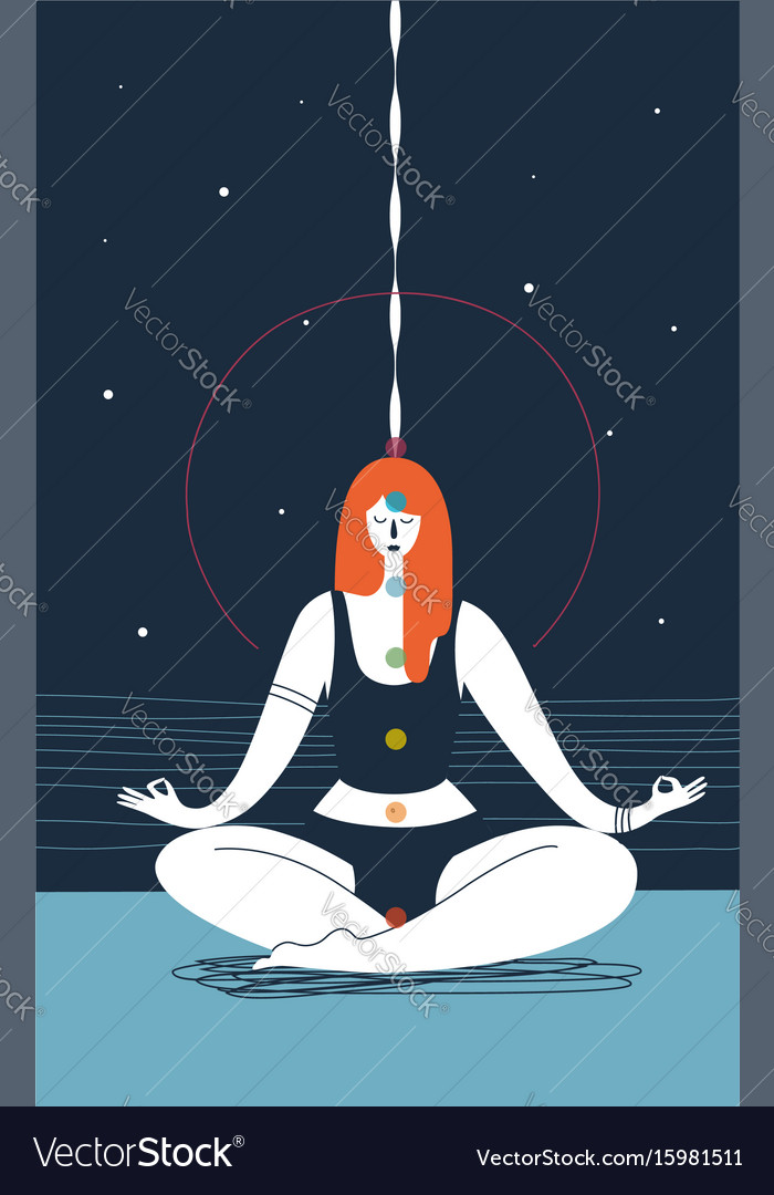 Woman with closed eyes and seven chakras of