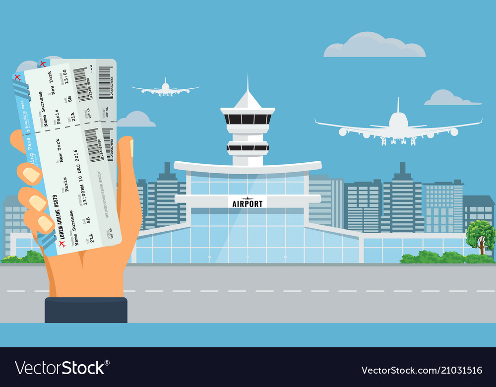 Airport terminal building hand holding two air vector image