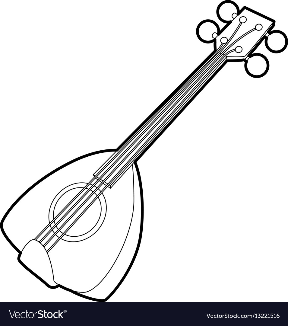 Arabic guitar icon outline style vector image