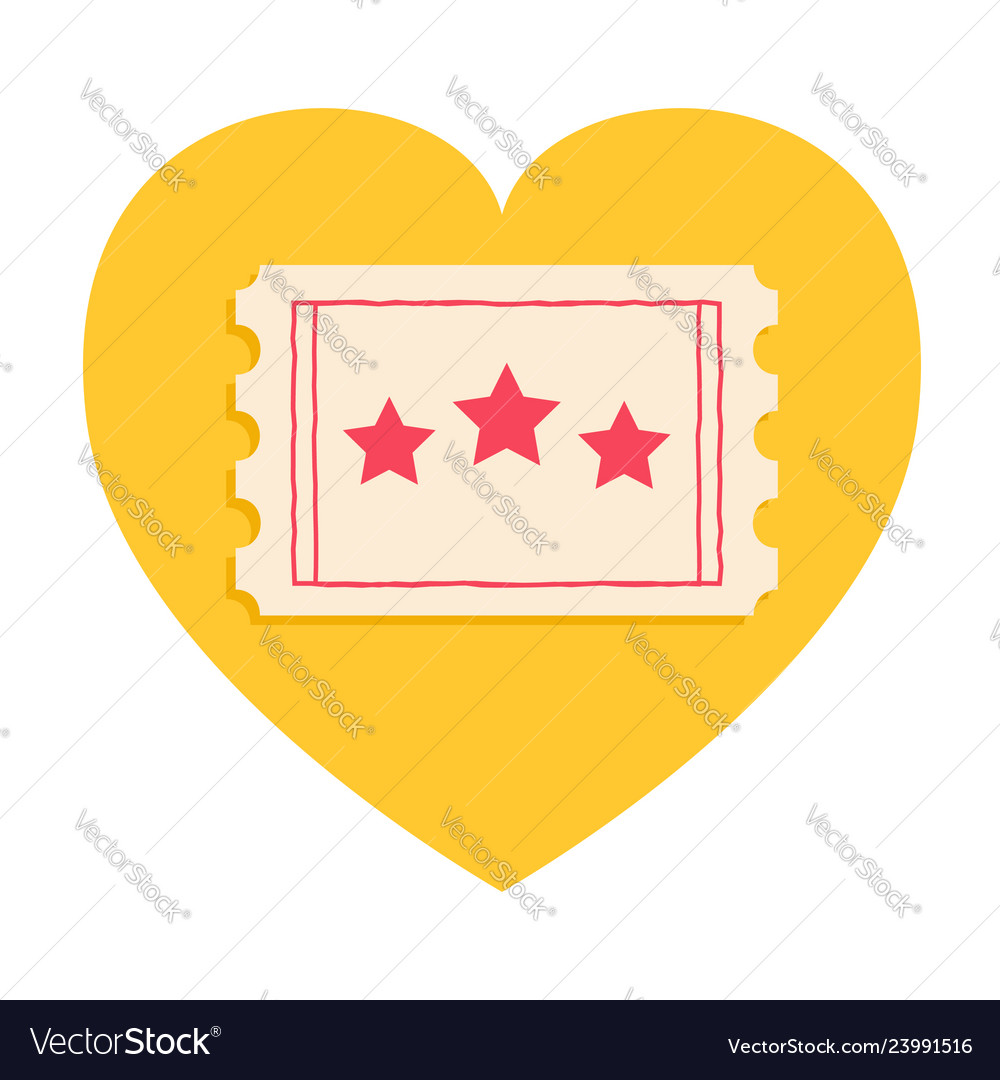 Big ticket with red stars heart shape admit onei