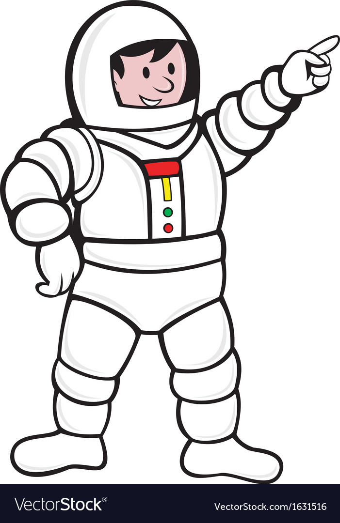 Cartoon Astronaut Standing Pointing vector image