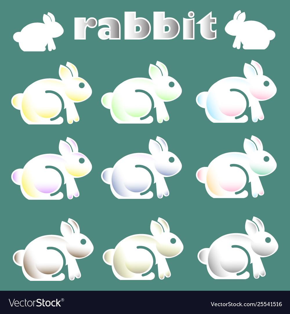 Cute white rabbit icon