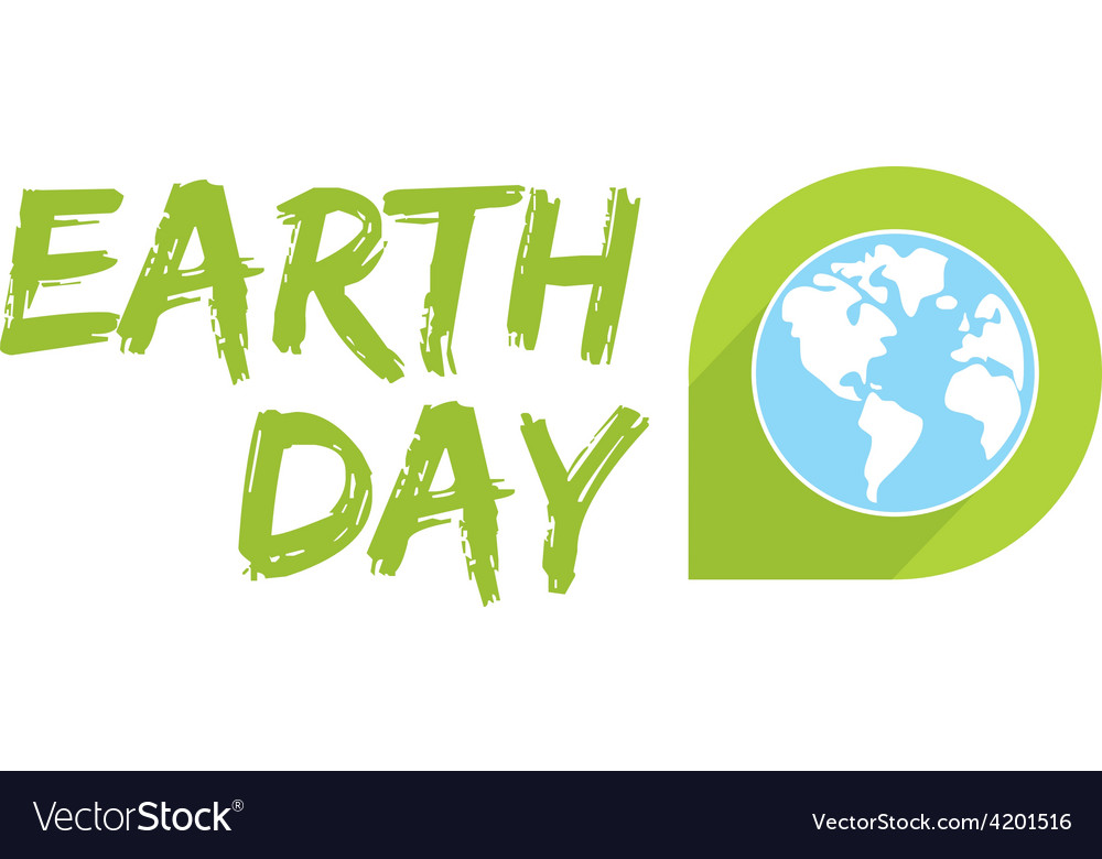 Earth day icon with blue planet