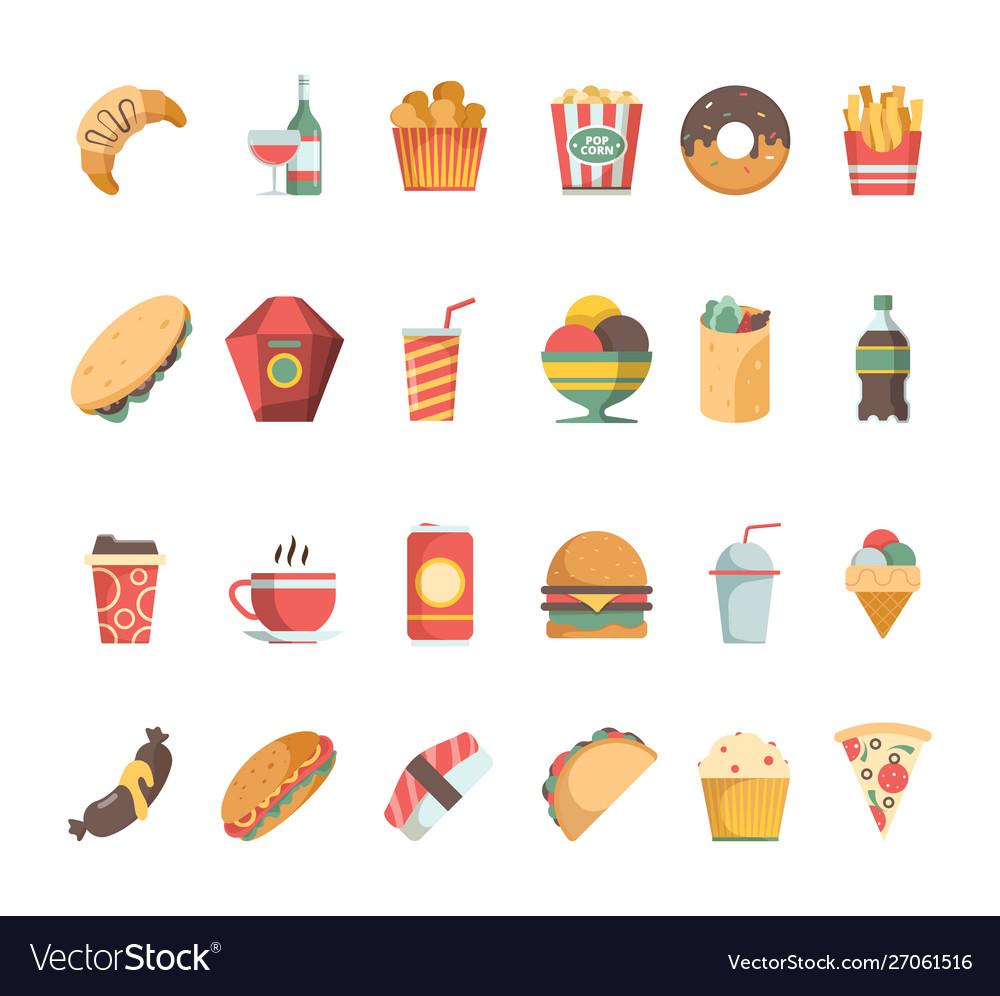 Fast food icons junk food sandwich hamburger
