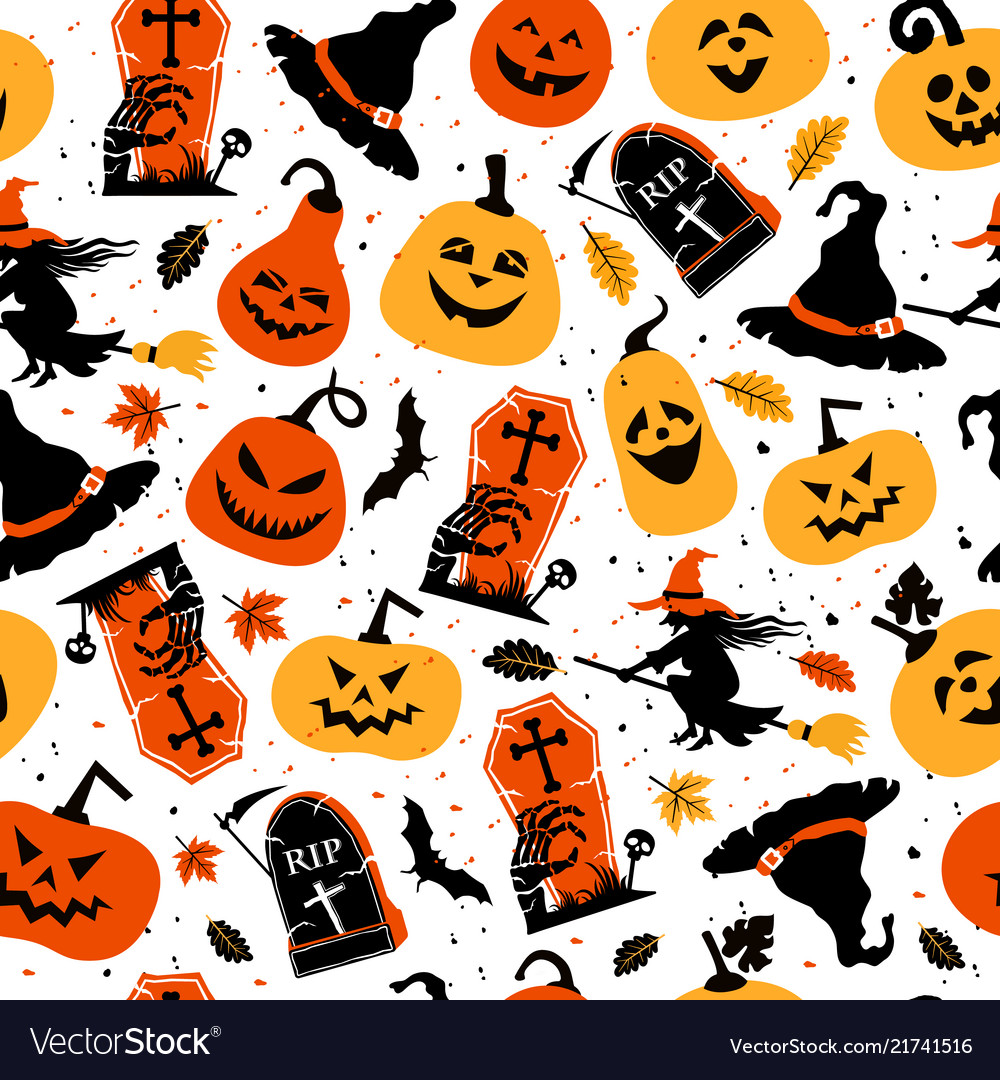 Halloween color festive seamless pattern