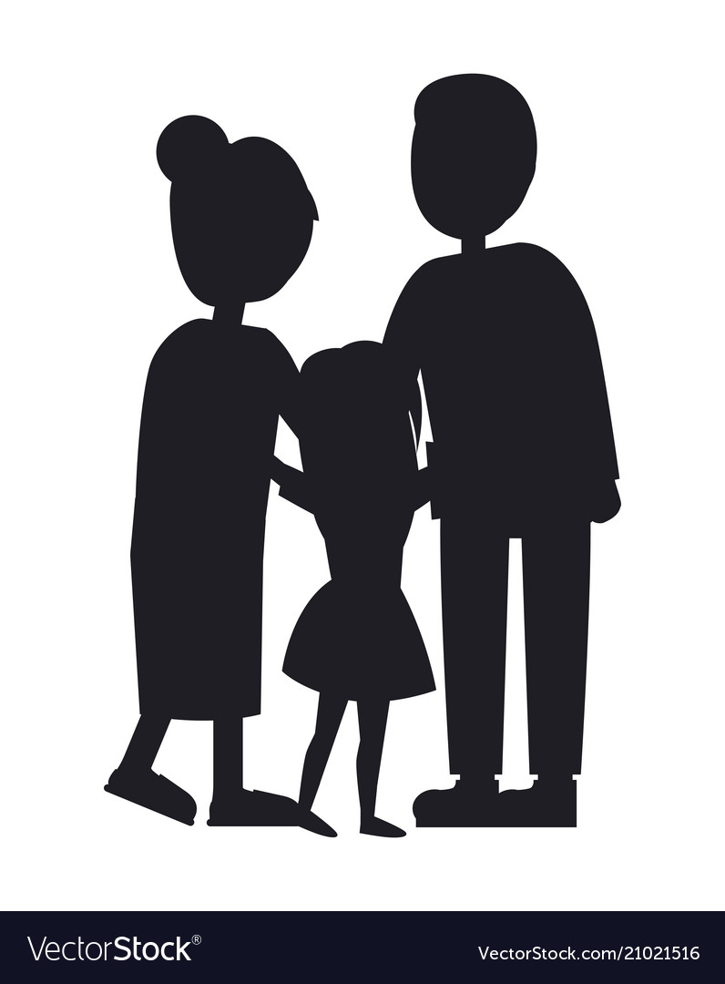 Mother father and dauhgter family banner vector image