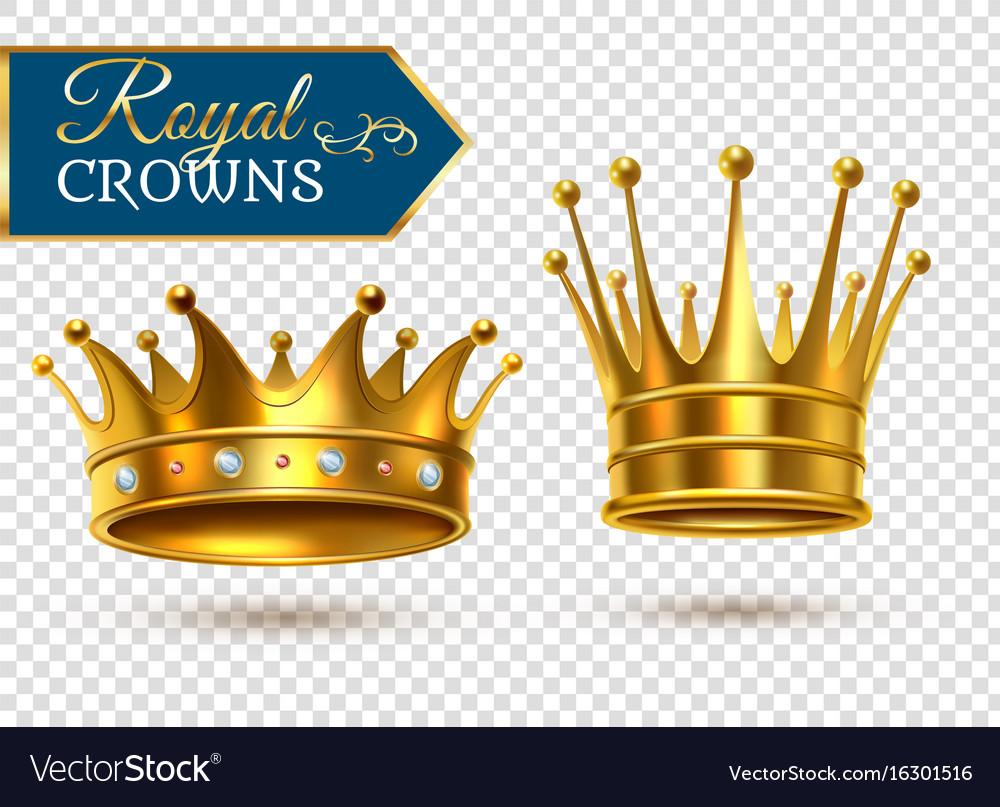 Realistic gold crowns transparent set