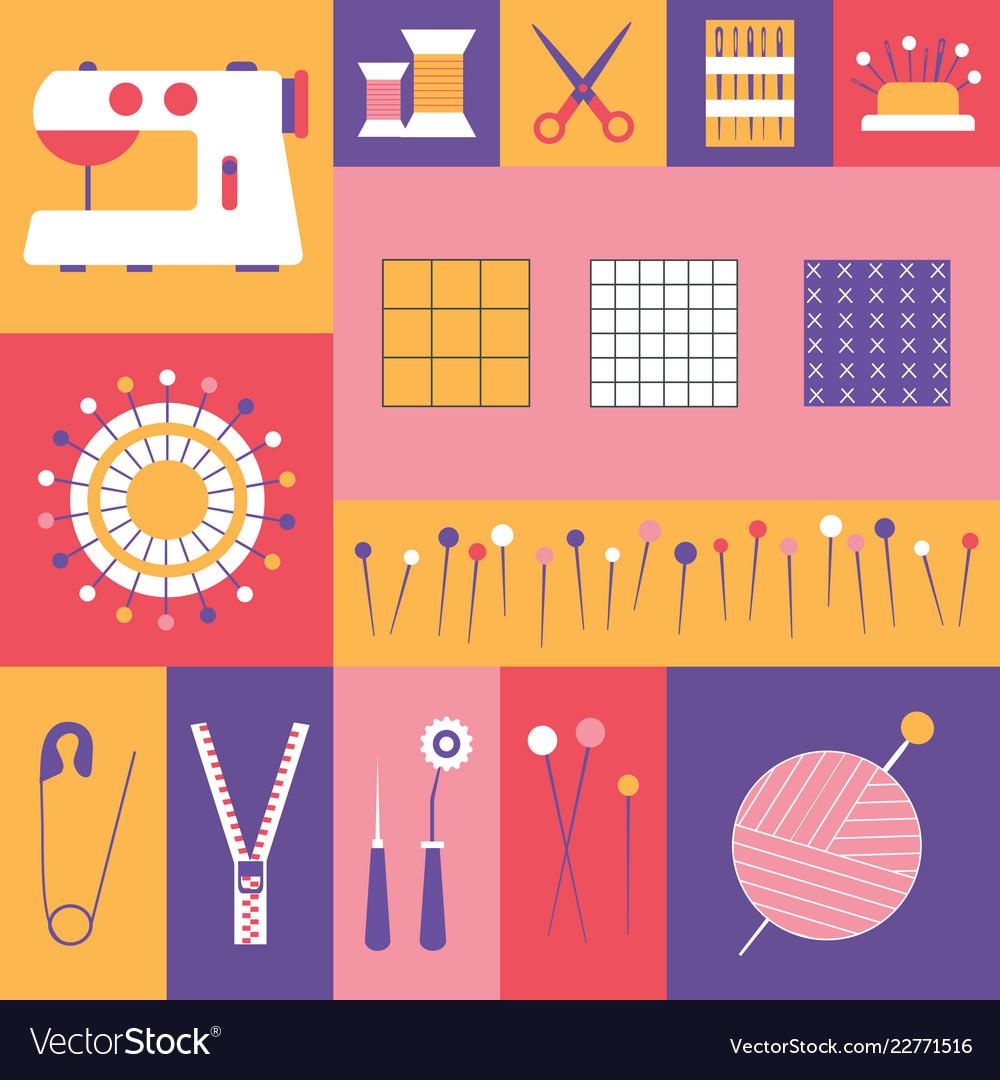 Sewing tools and tailor needlework icons