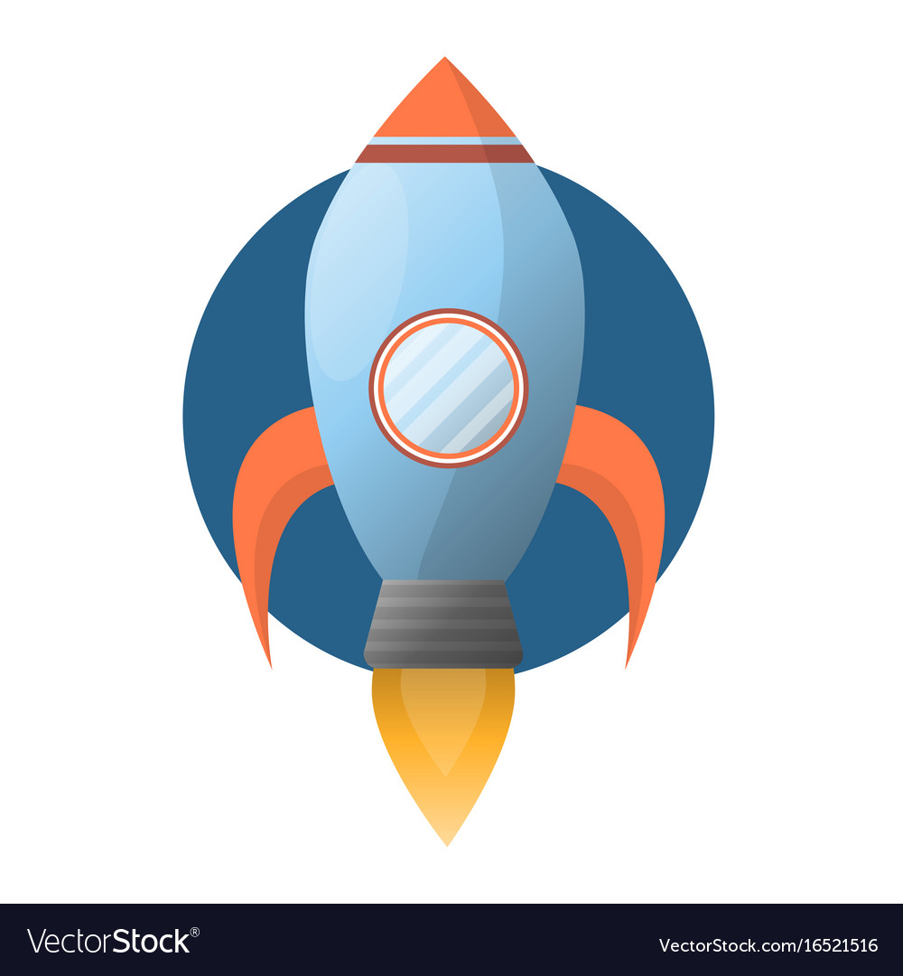 Spacious blue space rocket with powerful fire vector image