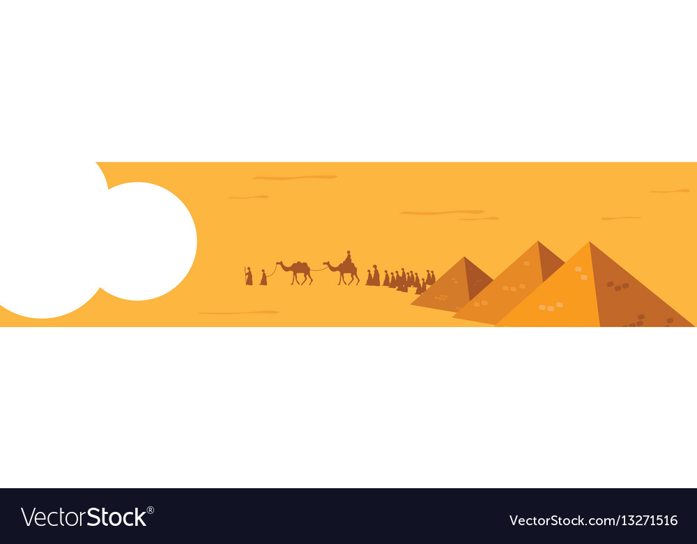 Web banner group of people with camels caravan